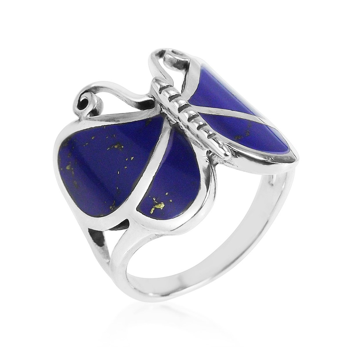 AeraVida Big Simulated Blue Lapis-Lazuli Butterfly .925 Sterling Silver Ring