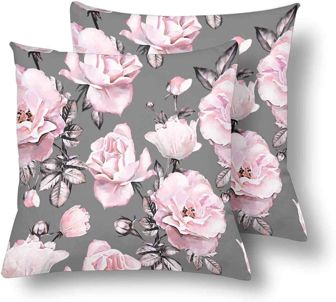 Amazon Com Rdsfhsp Watercolor Floral Pink Flowers Rose Leaves Gray Throw Pillow Cover Case Sofa Car Bedroom Etc Gifts Cotton 24x24 In Set Of 2 Home Kitchen