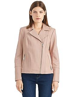 Womens Biker Jacket Leather Black Denim Camel Black Zip Lapel Coat Size S M L XL