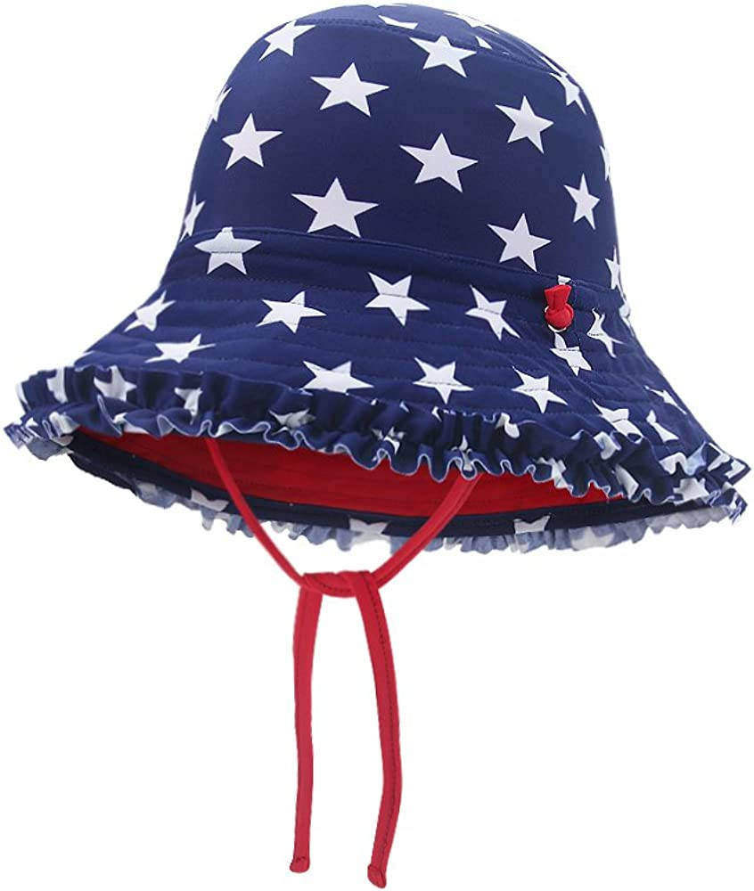 vivobiniya Kid Girl Beach Sun Hats Reversible Ruffle Bucket Sun Protection Hat