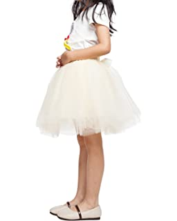 Zcaynger Girls Skirt Tutu Dancing Dress 5-Layer Fluffy with Ribbon