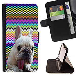 - FRENCH BULLDOG Chevron - - Premium PU Leather Wallet Case with Card Slots, Cash Compartment and Detachable Wrist Strap FOR LG Google Nexus 5 E980 D820 D821 King case