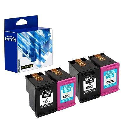 Eston 4 unidades (negro/Tri-color cartuchos de tinta para HP 63 ...