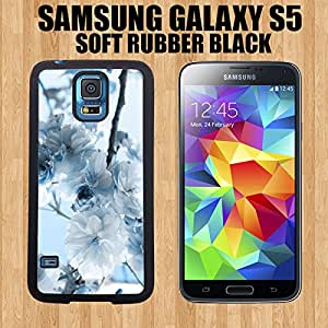 White Autumn Flower Custom made Case/Cover/Skin FOR Samsung Galaxy S5-Black- Rubber Case