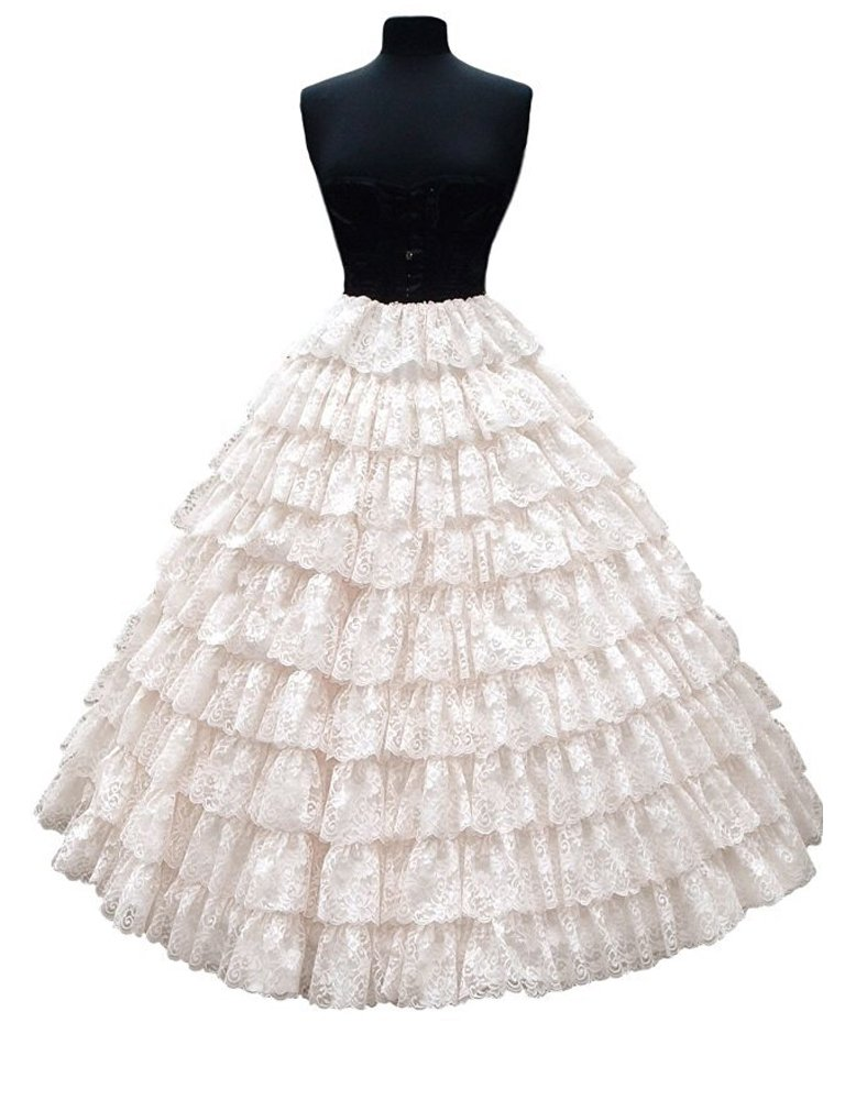 Edith qi Sottogonna Petticoats trascinamento per Vestito Abito da Sposa 6 Cerchio 2 Strati Petticoat Crinolina Sottoveste Multicolore