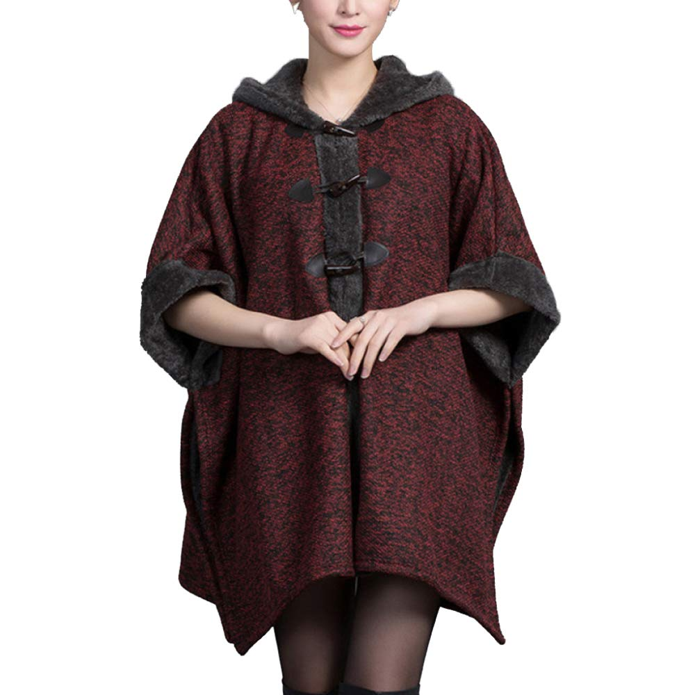 Red LIULIFE Hooded Shawl Spring Autumn Cardigan Cape Poncho Women's Loose Warm Cloak