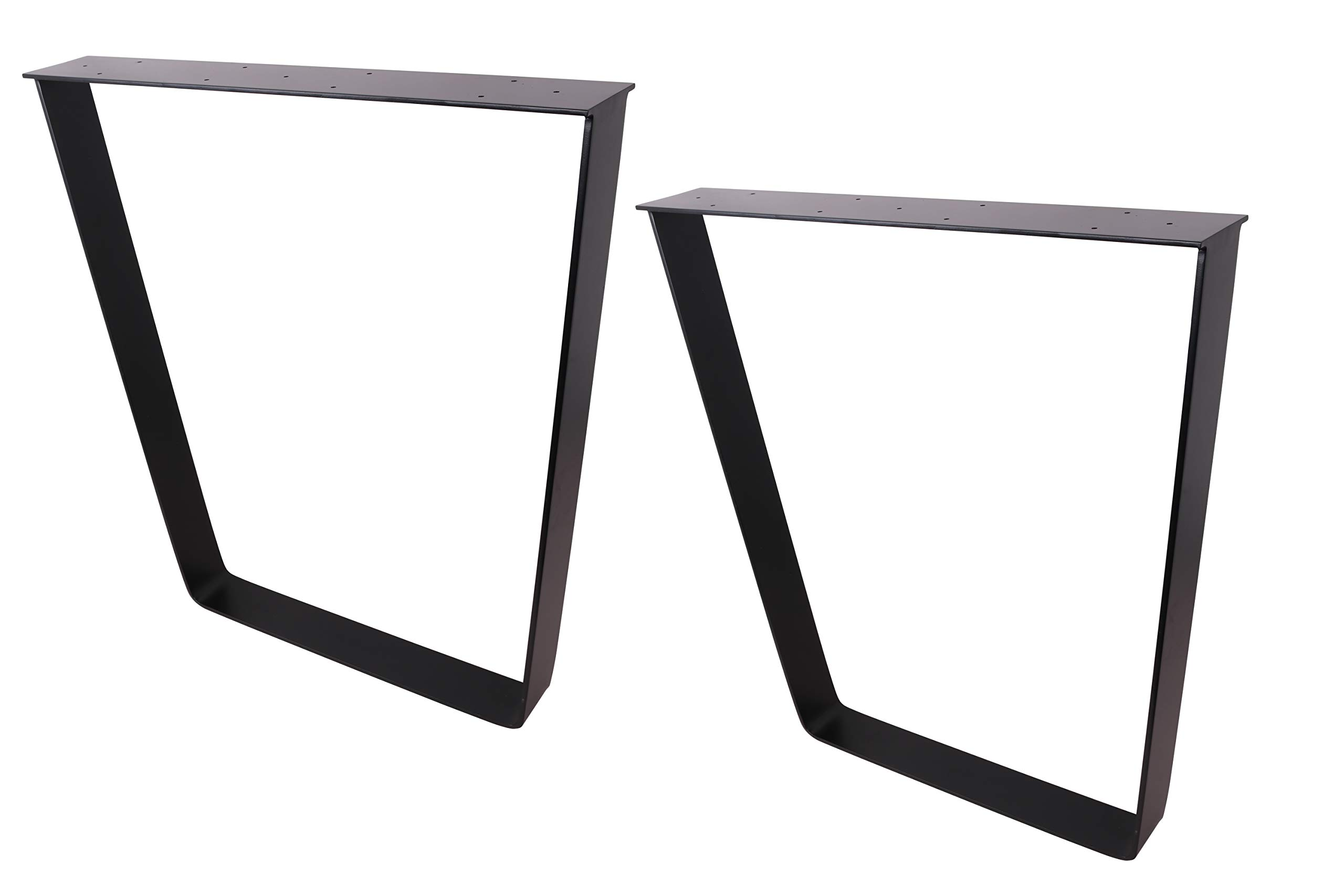 2 x 28'' Trapezoid Shaped Dining Table Legs, Heavy Duty Inverted trapezoidal Steel table legs, Office Table Legs,Computer Desk Legs,Industrial kitchen table legs,Country Style Table Legs,Set of 2,Black by ECLV (Image #1)