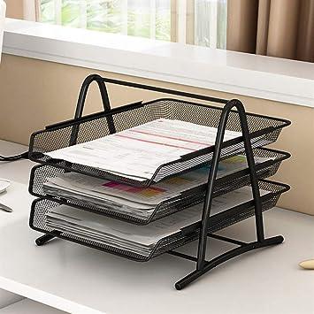 Bandeja organizadora de escritorio de 3 niveles para archivar documentos, escritorio y ordenador de apilamiento: Amazon.es: Oficina y papelería