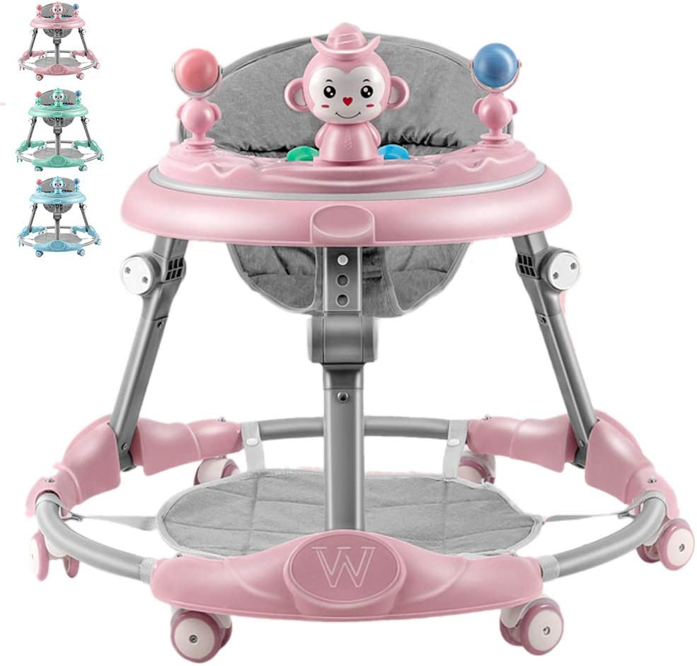 Olz AndadoresparaBebes - Andador Plegable para niños pequeños con 6 Ruedas, 7 Frenos, Bandeja - Asiento y Andador Ajustables en Altura - para niños niñas a Partir de 6 Meses
