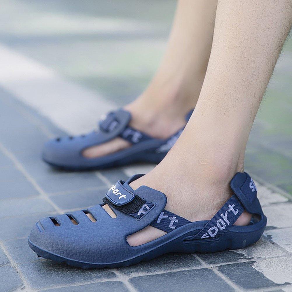 FFTX Fodera per uomo infradito infradito infradito estate sandali da spiaggia traspirante antiscivolo scarpe foro casuali di grandi dimensioni piede pantofola coperta all'aperto, blu, 41 05d80a