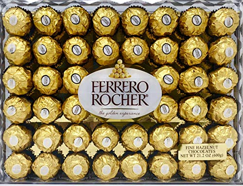 Ferrero Rocher Fine Hazelnut Chocolates, Chocolate Gift Box, 48 Count Flat, 21.2 oz (Gudrun Chocolate)