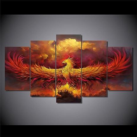 Amazon.com: 5 Piece Painting on Canvas Burning Phoenix Drawn in ...