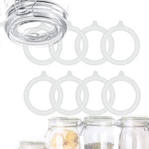 8 Pieces Silicone Jar Gaskets Replacement, Silicone Jar Leak Proof Airtight Rubber Seals Canning Rings, for Regular Mouth Canning Jar Lids, 3.75 Inch (White)