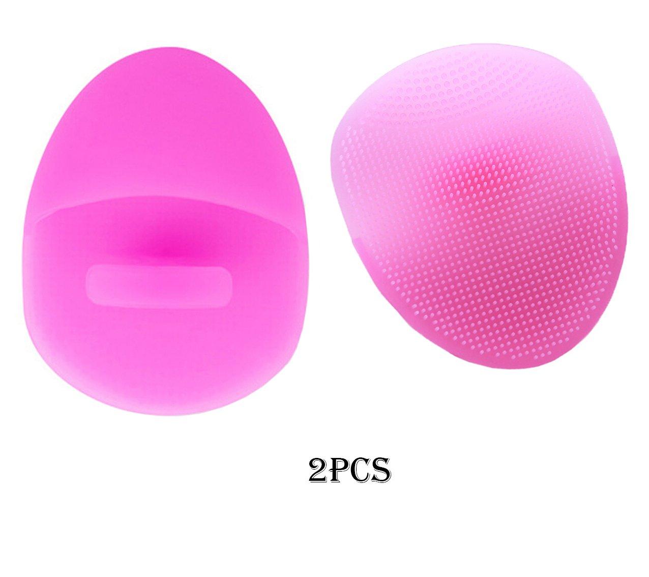 (2PCS) Spazzola di lavaggio palmare manuale della spazzola di pulizia del viso della spazzola di   pulizia del fronte e del massaggiatore del silicone eccellente molle per sensibile   Delicato   Pelle   secca (Red) JT