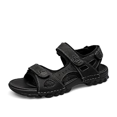 Sandals Mens Summer Stylish Walking Water Sports Outdoor Leather Beach Casual Open Toe Footwear Shoes Soft Athletic Flat Black Brown 6-13