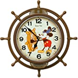 セイコークロック 掛け時計 茶 本体サイズ:39.6×39.6×6.1cm ミッキーマウス 電波 アナログ 飾り振り子 FW583A