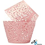 A&S Creavention Vine Cupcake Holders Filigree Vine Designed Decor Wrapper Wraps Cupcake Muffin Paper Holders - 50pcs (Pink)