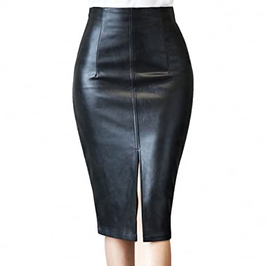 573c9deb4fd Women PU Faux Leather Midi Pencil Bodycon Skirts NEW New Plus Size Ladies  Sexy Tube Skirt
