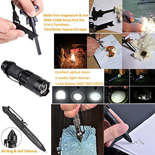 Survival-Gear-Kit-11-in-1-Tianers-Professional-Outdoor-Emergency-Survival-Tool-with-Military-Compass-Survival-Knife-Saber-Card-Fire-Starter-Whistle-Tactical-Pen-for-Travel-Hike-Field-Camp