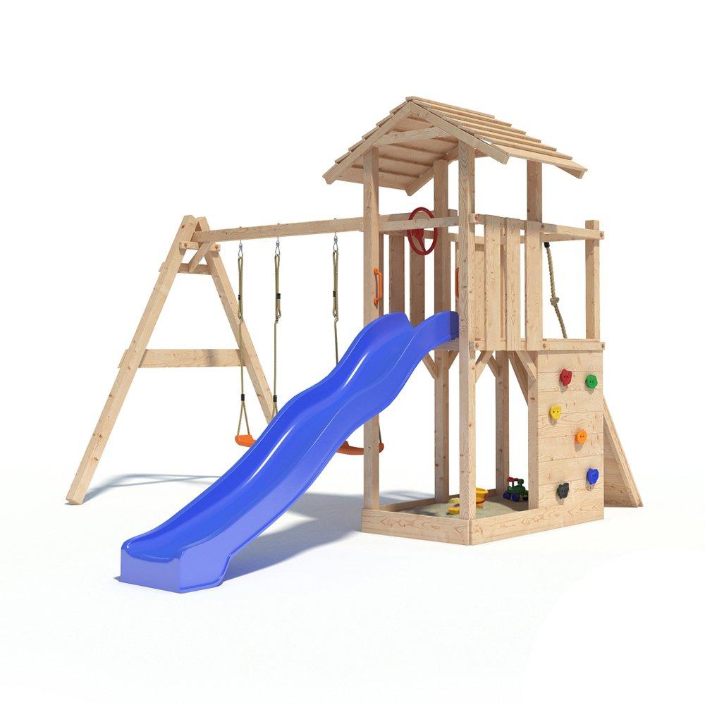 Spielturm EMPIRE von Oskar mit Schaukelanbau, Doppelschaukel, Rutsche, Kletterwand, Lenkrad und Kletterrampe auf 1,20 Meter Podesthöhe