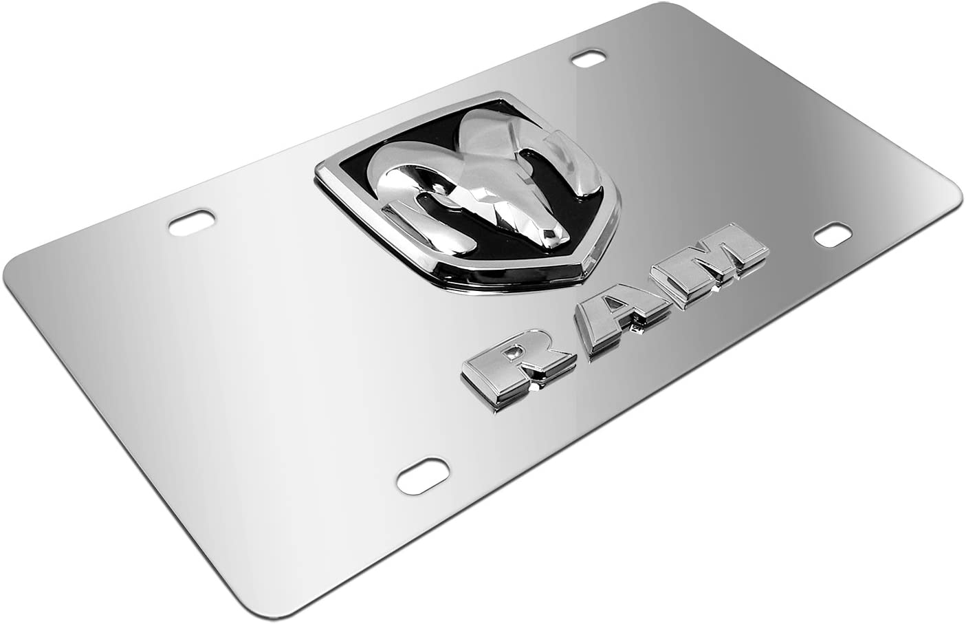 Metal 3D License Plate Tag for Dodge Silver 99 Carpro Stainless Steel License Plate tag for Dodge RAM Vehicle Silver Front License Plate Covers with Chrome 3D Logo and Name for Dodge RAM