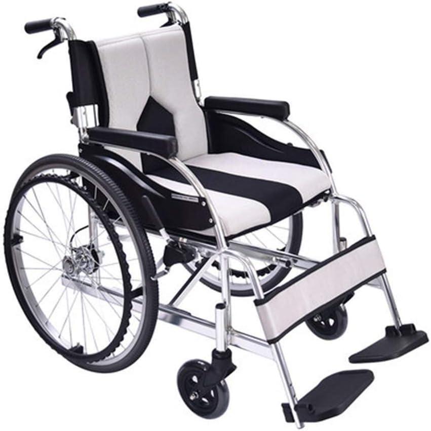 実用的 ポータブル車椅子、アルミ合金手動車椅子、折り畳み式歩行器、高齢者車椅子車椅子自走式歩行補助具 福祉 (Color : White)