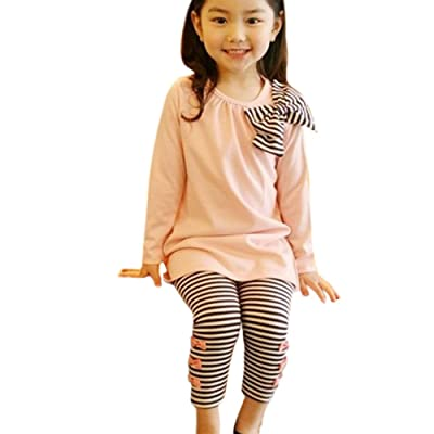 Shouhengda Kids Girls Bow Striped Leggings Suit Long Sleeve Shirts Tops Sets