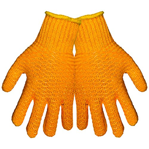 Global Glove S975 Silicone Honey Comb String Knit Glove, Work, Large, Orange (Case of 144)