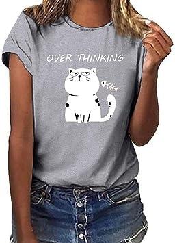 SMILEQ Moda para Mujer Chaleco Niñas Cat Print Tank Tops Plus Size Camiseta de Manga Corta Blusa: Amazon.es: Deportes y aire libre