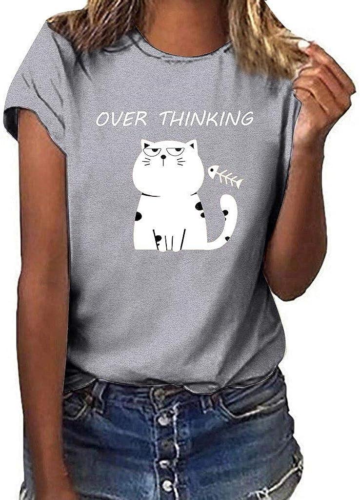 Benficial Women Girls Plus Size Cat Print Short Sleeved T-Shirt Blouse Tops 2019 Summer Gray