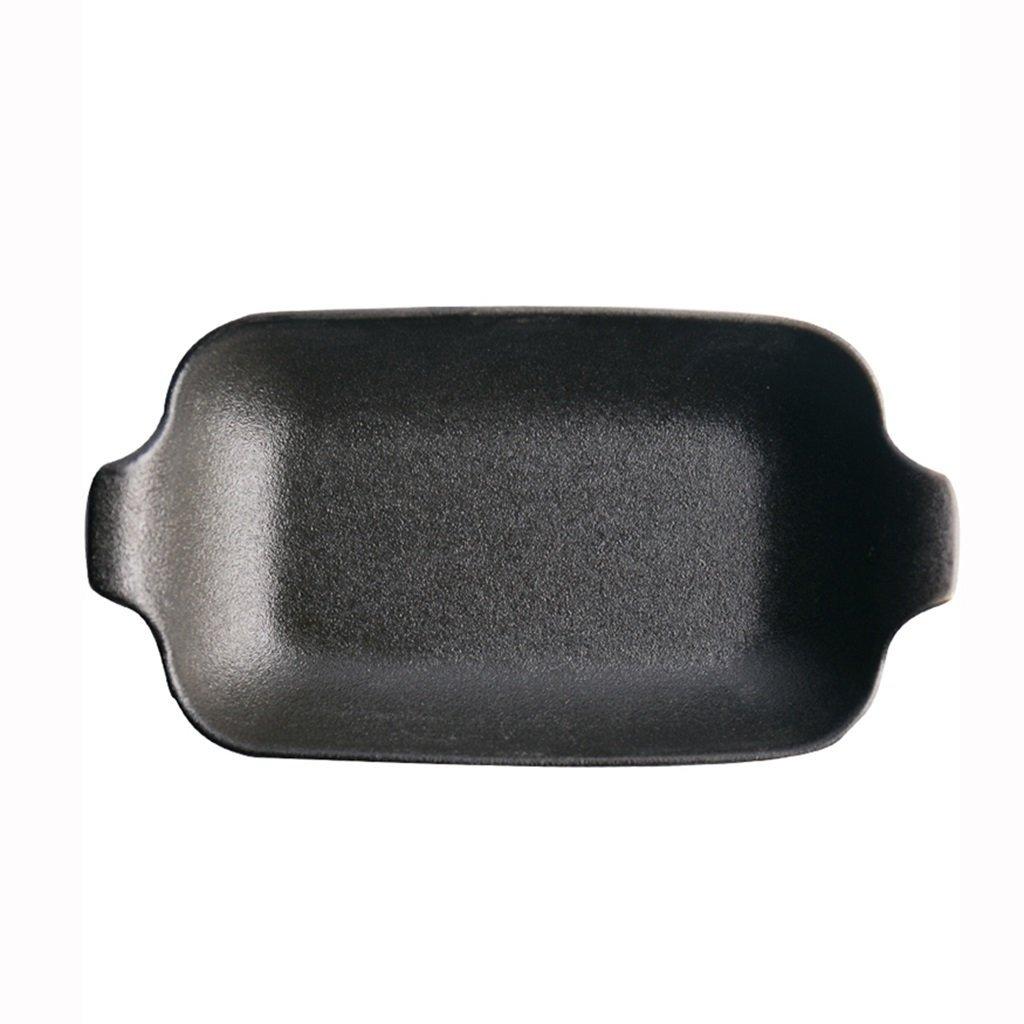 He Xiang Ya Shop black Creative Home Fruit Plate Cutlery Western Dish Steak Plate Sushi Plate Flat Plate Creative Ceramic Binaural Bakeware