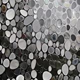 Kitchen Window Treatments with Dark Cabinets HXSS Privacy Window Film Decorative Window Film Static Cling Window Film 17.72in. by 78.7in. 3D Pebble Glass Film for Home Kitchen Bedroom