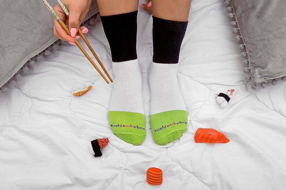 Prodotto in Europa Certificato OEKO-TEX Idea REGALO Divertente 5 paia di CALZINI SUSHI: Tamago Butterfish Tonno Cetriolo e Oshinko maki Calze fantasia di COTONE|per Donna e Uomo Sushi Socks Box