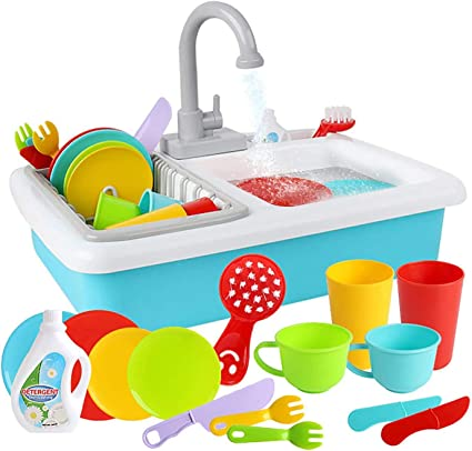 Amazon Com Wishtime Kitchen Sink Toys Pretend Play Dishwasher Playing Toy With Running Water Wash Up Kitchen Toys Pretend Role Play Toys For Boys Girls Toddlers Toys Games