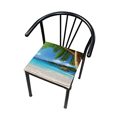 "Bardic HNTGHX Outdoor/Indoor Chair Cushion Beach Palm Tree Square Memory Foam Seat Pads Cushion for Patio Dining, 16"" x 16"": Home & Kitchen"