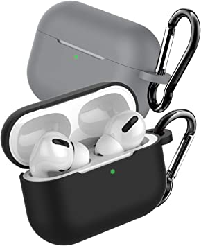 Estuche SUNGUY Skin para Apple AirPods Pro 2019 [Paquete de 2] Estuche para Auriculares inalámbricos Apple para Apple AirPods con Estuche de Carga inalámbrico Modelo más Nuevo Negro + Gris de Sunguy: