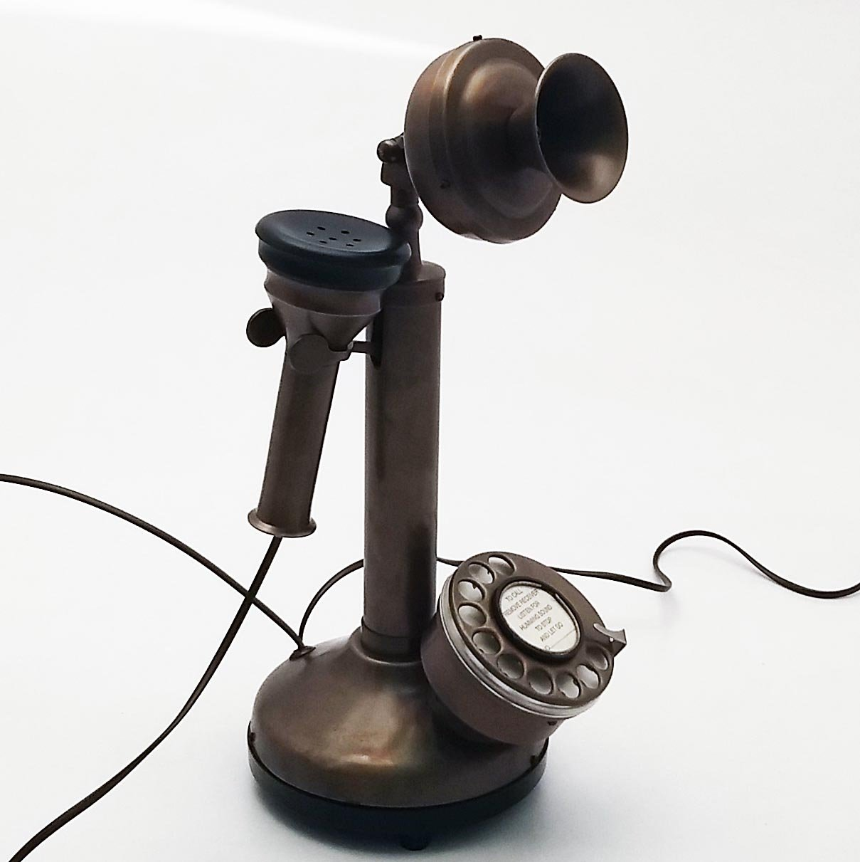 Antique Reproduction Candle stick Nickel Plated Working Telephone Home Decor. (Brown&Black)