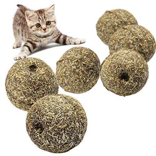 Gdraven Balle pour chat naturelle, revêtement avec herbe à chat, menthe, couleur Herbe