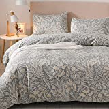 Colourful Snail 100-Percent Natural Washed Cotton Antique Boho Floral Pattern Duvet Cover Set, Bohemian Style, Ultra Soft and Easy Care, Fade Resistant, King