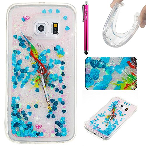 Galaxy S6 Edge Case, Firefish Slim Shock Absorption Slim Bumper Cover Anti-Slip Soft Silicone Protective Skin for Girls (Bling Garbage Can)