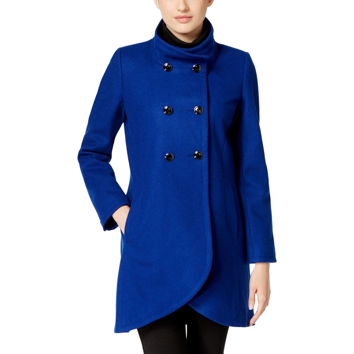 CeCe by Cynthia Steffe Women's Petite Gianna Button Closure Coat, Cobalt, 8