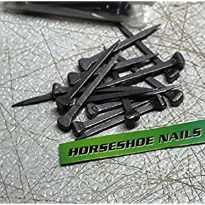 Horseshoe Nails - Size 5 - City Head - for Jewelry Supplies, Leaded Stained Glass Projects, Horses, or Rustic Decor - The Heritage Forge Chrome - 100 13