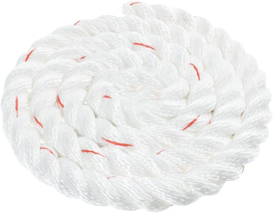 1 White with Red Tracer 1-1//2 100 3//4 5//8 50 3//8 250 600 Feet Paracord Planet Twisted 3 Strand PolyDac Combo Utility /& Towing Rope 300 25 2 inch Diameters in 10 1//2 500