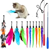 SYEENIFY Cat Feather Toys, 12 Packs Retractable Cat Wand Toy, 10 Cat Teaser Refill with Bell for Cat Kitten