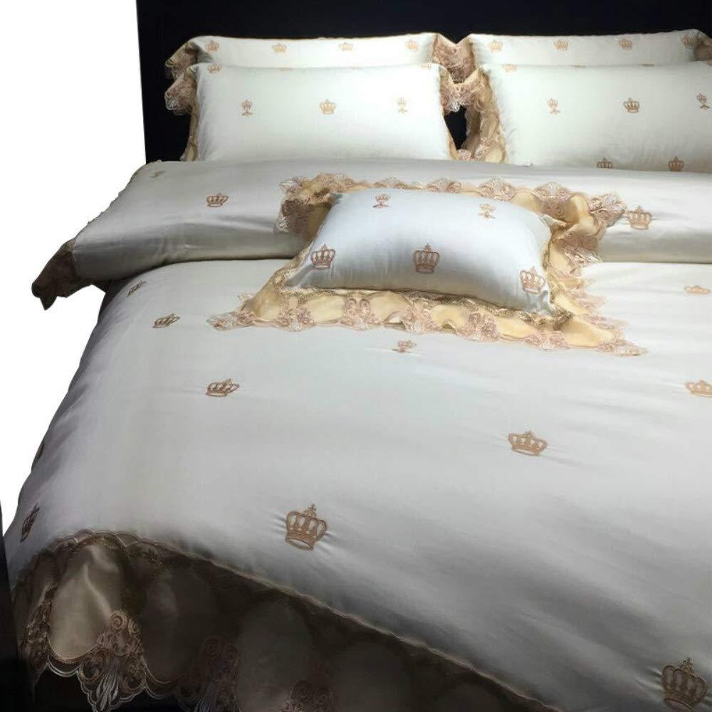 Shioya house 寝具綿のセット4レース100サテン500 t刺繍入りキルトカバーレース寝具刺繍入り寝具 バレンタインデー/バースデー/アニバーサリーに最適な水分吸収性吸湿性抗菌防臭剤でお手入れ簡単耐久性すべての季節に適しています ご愛顧ありがとうございました (Size : M) B07QX3T1SS  Medium