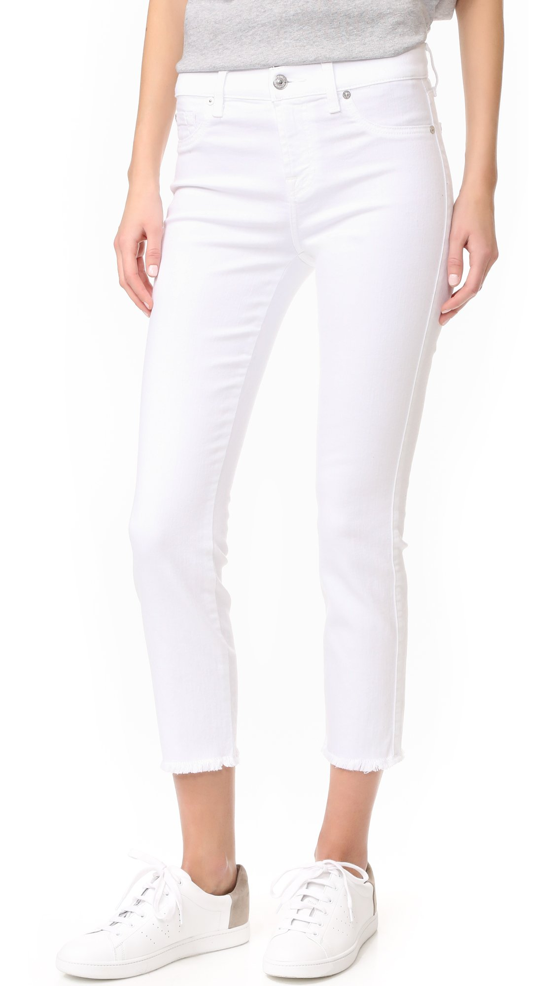 7 For All Mankind Women's Roxanne Ankle Jean with Raw Hem, White Fashion, 30