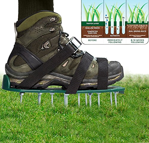 Lawn Aerator Shoes Heavy Duty Spiked Sandals Spiked Sandals Shoes Garden Tool Aerating helps seeder and air revitalizing the grass by GINXIA