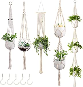 VnD Home Sense 5 Pack Macrame Plant Hanger +5 Hooks-Premium Handmade Indoor Outdoor Hanging Planters, Macrame Plant Hangers for Decorations, Boho Home Decor, Cotton Rope Different Tiers