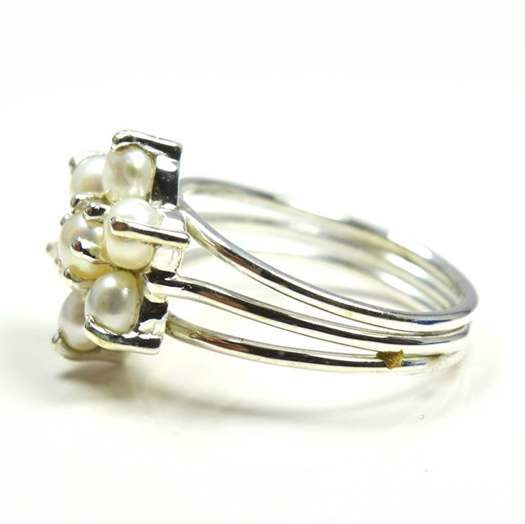 Gemsonclick Natural Round Cut White Pearl 925 Sterling Silver Ring Fashion Jewelry in Ring Size 4 to 13