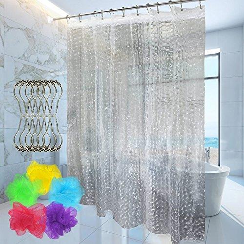 ForPeak Shower Curtain with 12 Rustproof Metal Hooks and 1 Bath Sponge Set Mildew Resistant 3D EVA Semi Transparent 72 x 72 inch - Stand Up Shower Curtain Rod